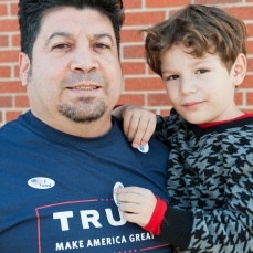 """Luis Rodriguez & his son Kiev 45, Rapid City. Retired Combat veteran; Iraq. Nurse at Rapid City Regional Hospital. """"Perhaps he's not very eloquent...but he will have the right people behind him to make things happen."""""""