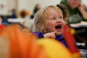 Berlinn Farner, 3, was one of many children who attended the 35th annual Harvest Meals for YFS' Child Development Center and Girls Inc. of Rapid City programs.