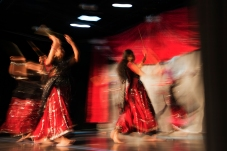 A group of dancers perform the Dandiya, a regional folk dance of India during Diwali Night at the School of Mines on Saturday evening.