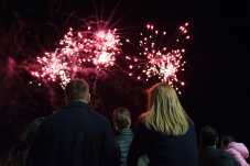 Spectators watch a fireworks display during Diwali Night at the School of Mines on Saturday evening.