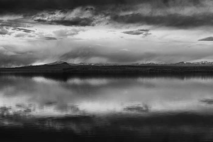 Dusk over Pilot Butte Reservoir. Wyoming.