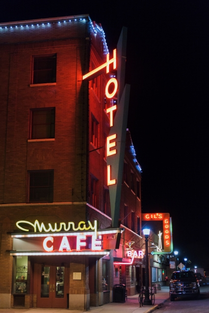 Neon lights in downtown Livingston, Montana.