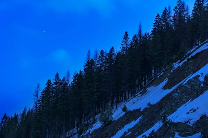 Venus shines over the forest-lined gorge of the North Fork of the Flathead River in Glacier National Park.
