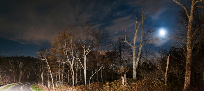Moonlit Night over Skyline Drive. Shenandoah National Park.