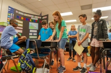 From left, Brenden Hosten, Dylan Buckley, Jackson Stanley, Lauren Ballard, Zane Justice and Zamiyah Brooks present their project-based-learning (PBL) showcase on Hydroelectricity inside Mrs. Nesius's 5th grade classroom at Kenna Elementary School in Charleston, W.V., on Tuesday, May 29, 2018