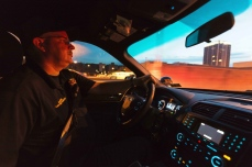 Captain Mark Strickland drives on patrol in Charleston on July 26, 2017.