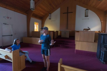 CRAIG HUDSON | Gazette-Mail Cheryl Laws speaks about her plans for Cafe Appalachia inside the former St. John United Methodist Church as her daughter Sydney Atkins looks on in South Charleston, W.V., on Friday, August 18, 2017.